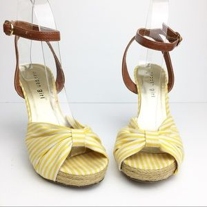 SZ 5.5 Yellow & White Stripe Ankle Wrap Heels